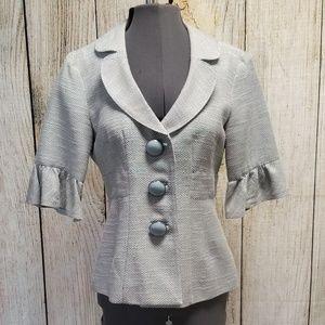 Nanette Lepore Grey Blue Button Up Jacket size 4